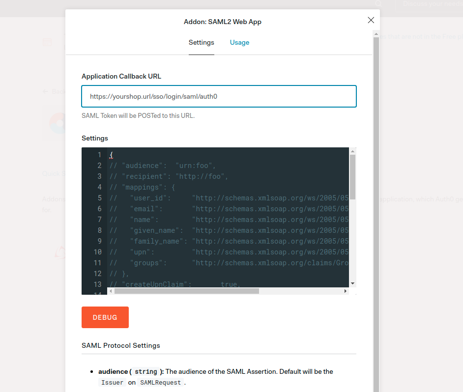 Auth0 Configuration Screen