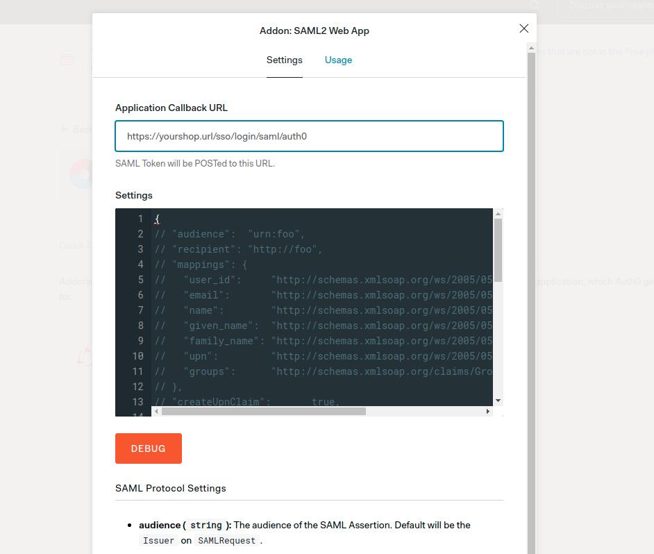 Auth0 Configuration Screen