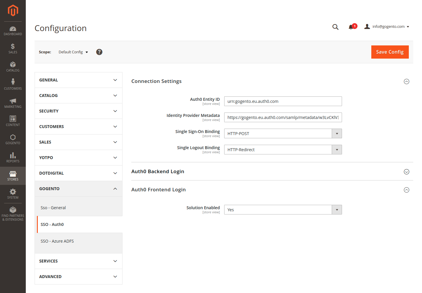 Auth0 Configuration Settings in the Magento Backend