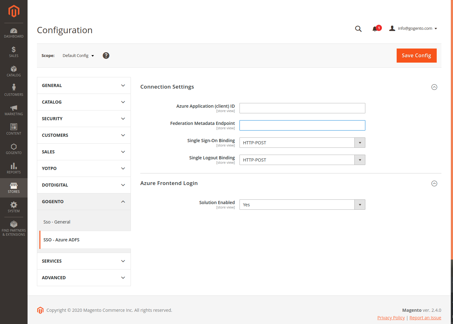 Azure SSO Settings In the Magento Backend