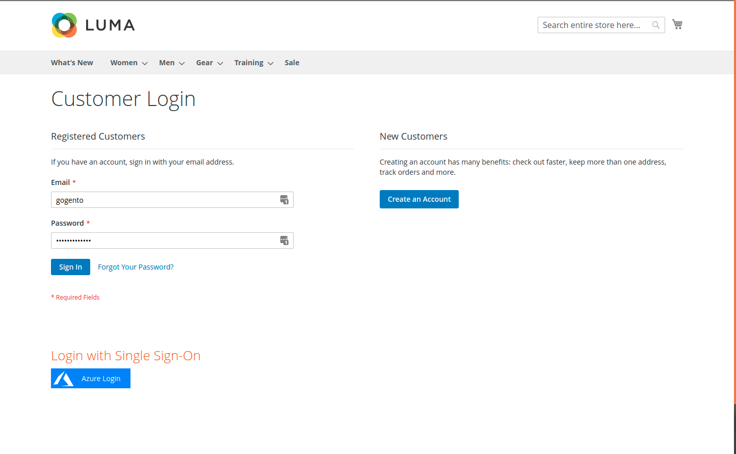 Magento Customer Login Screen