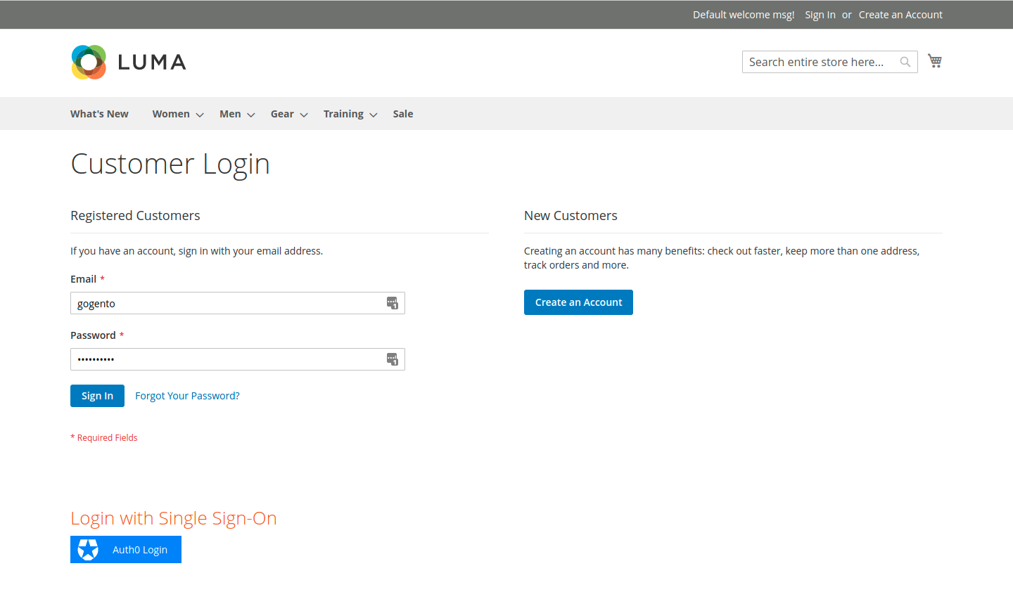 Customer Login Page In the Magento Frontend
