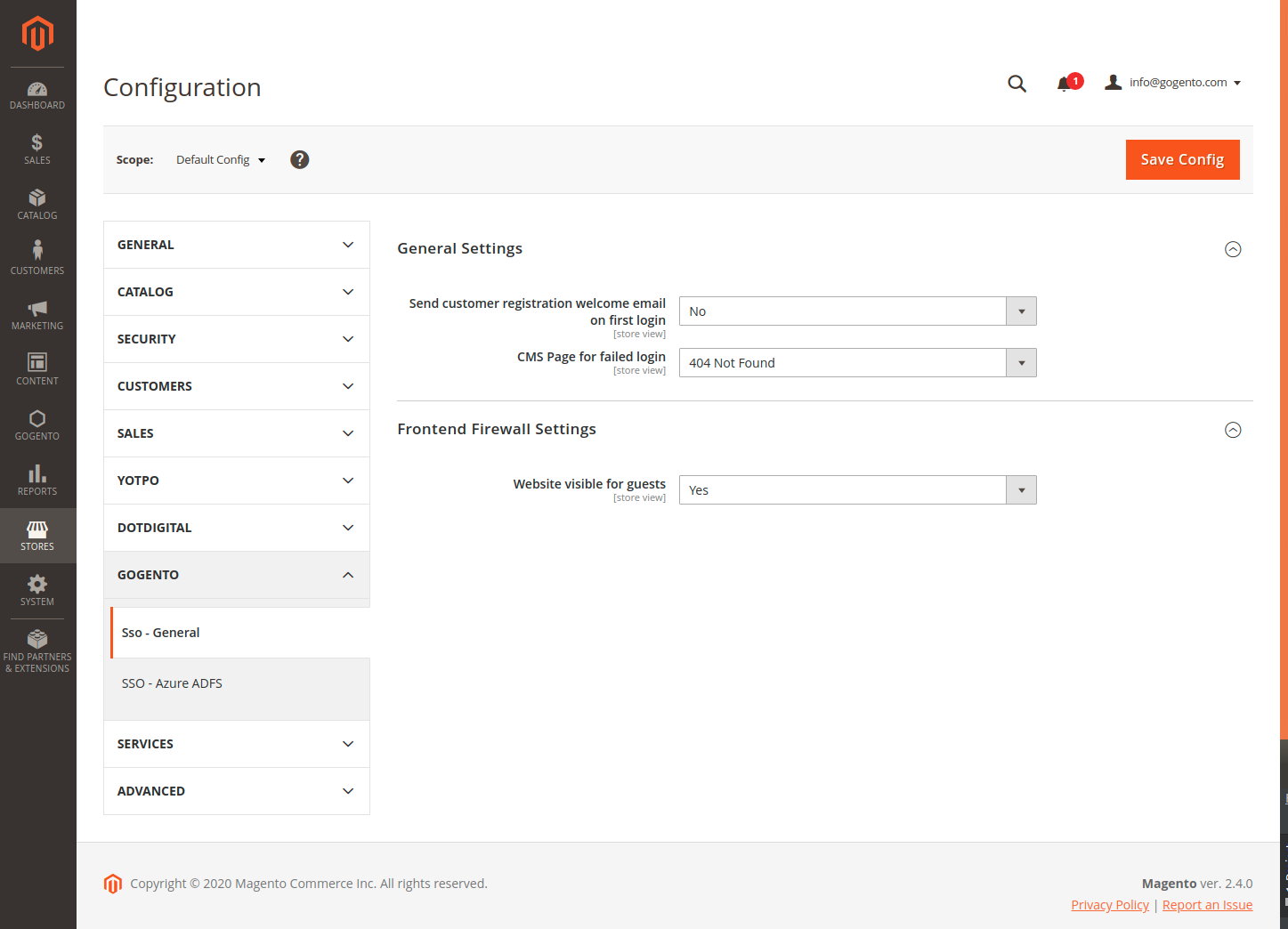 General Single Sign-On Settings in the Magento Backend